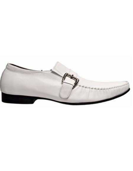 Mens White Slip On Soft Genuine leather Zota Dress Shoe