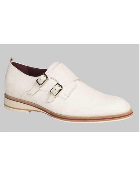 Men's White Suede Double Monk Strap Dress Oxford Shoes Perfect For Men Authentic Mezlan Brand