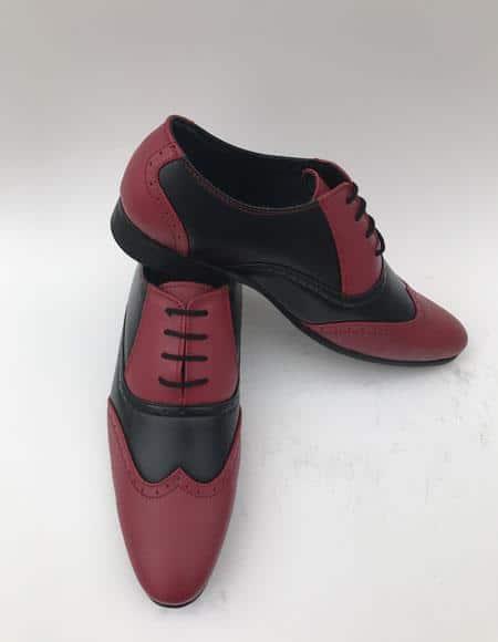 Men's Wingtip Lace Up Style Maroon Dress Shoe ~ Burgundy Dress Shoe ~ Wine Color Dress Shoe Two Toned Color Dress Shoes