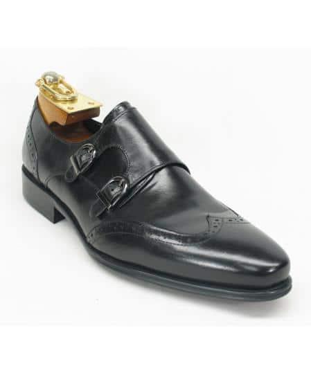 Men's Carrucci Monk Strap Etching Design Wing Toe Style Fashion Black Shoe- Men's Buckle Dress Shoes