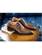 Mens Goldtone Buckle Brown Slip On Carrucci Shoe