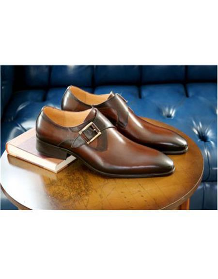 Mens Chestnut Wrapped Goldtone Slip On Carrucci Shoe