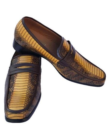 Mens Yellow ~ Gold ~ Mustard ~ Bronze ~ Camel Python Skin Slip-On Style Casual Dress Loafer Shoes