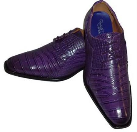Alligator Crocodile Exotic Print skin Lace up Oxford Shoes Purple