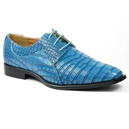 Alligator Exotic Crocodile Print skin Lace up Oxford Skin Dress Blue