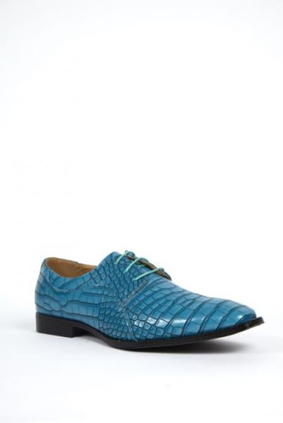 Alligator Print Dress Shoe in Topaz, Purple, and Navy Colors