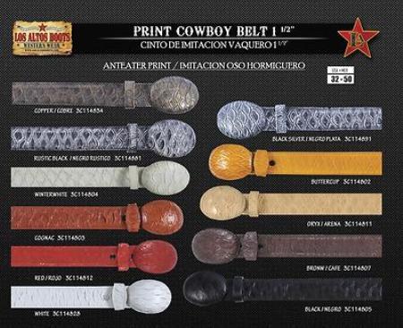 Anteater Print Mens Cowboy Belt 1.5inch Width