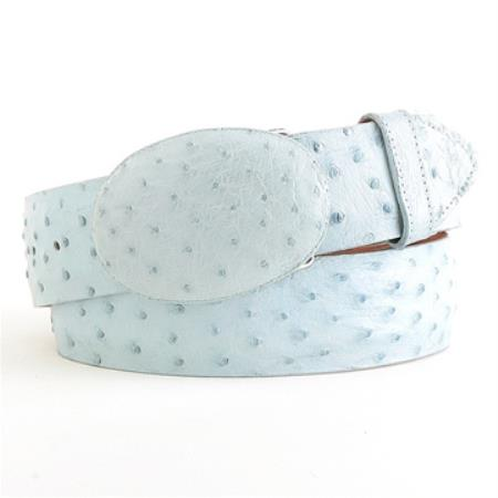 Authentic genuine real baby blue ostrich belt