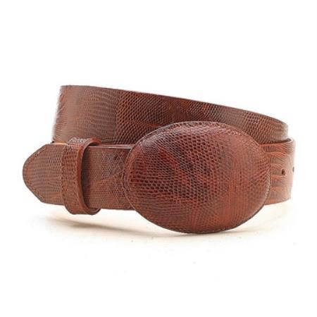 Authentic genuine real cognac lizard belt