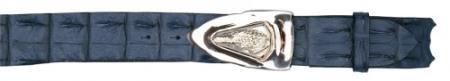 Authentic skin navy blue genuine crocodile backstrap buckle belt