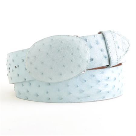 Baby blue ostrich belt