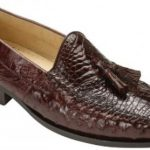 "Belvedere ""Bari"" Brown Genuine Alligator and Ostrich Skin Loafer Shoes With Tassels"