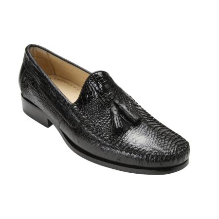 Belvedere Bari Genuine Caiman and Ostrich / Mens Loafer Shoes with Tassel and Leather Sole in Black