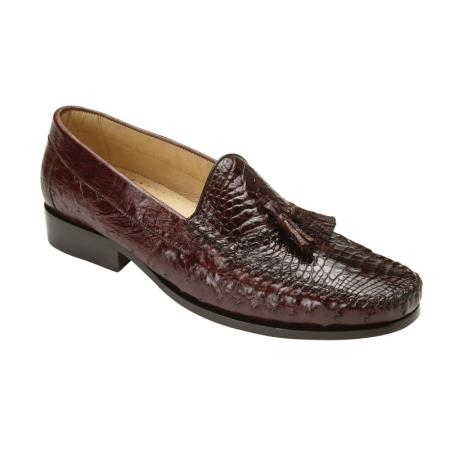 Belvedere Bari Genuine Caiman and Ostrich / Mens Loafer Shoes with Tassel and Leather Sole in Brown