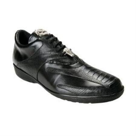 Belvedere Bene Genuine Ostrich and Calfskin Sneakers with Rubber Sole in Black