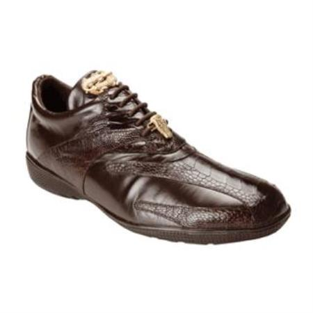 Belvedere Bene Genuine Ostrich and Calfskin Sneakers with Rubber Sole in Brown