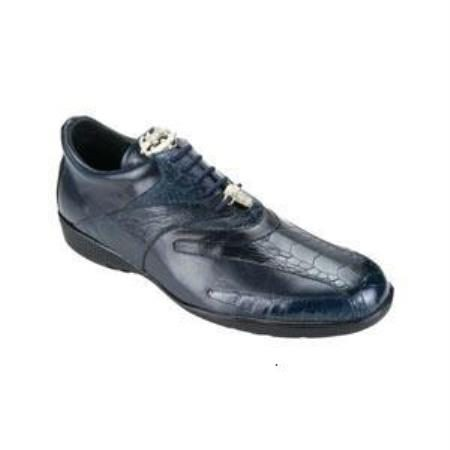 Belvedere Bene Genuine Ostrich and Calfskin Sneakers with Rubber Sole in Navy
