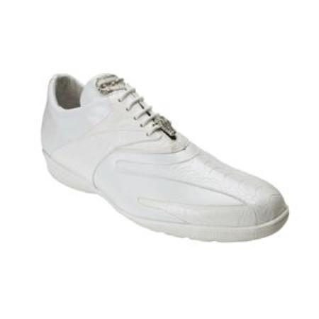 Belvedere Bene Genuine Ostrich and Calfskin Sneakers with Rubber Sole in White