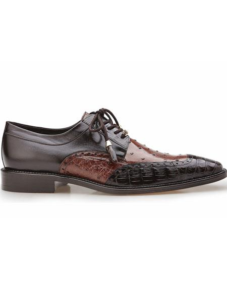 Belvedere Brown/Tobacco Ostrich And Crocodile Derby Tassel Laces Shoes
