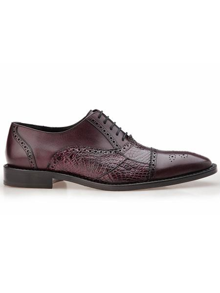 Belvedere Cap Toe Torino Alligator And Calfskin  Brogue Antique Wine