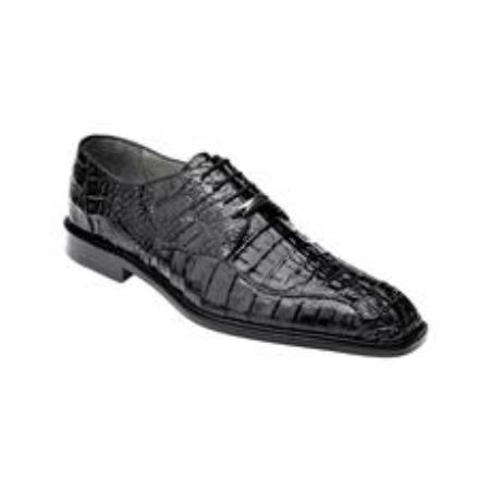 Belvedere Chapo Genuine Hornback / Split Toe Shoes with Metal Detail in Black
