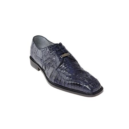 Belvedere Chapo Genuine Hornback / Split Toe Shoes with Metal Detail in Navy