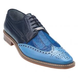 Belvedere Circo Genuine Crocodile / Calfskin Wingtip Brogue in Blue / Ocean Blue