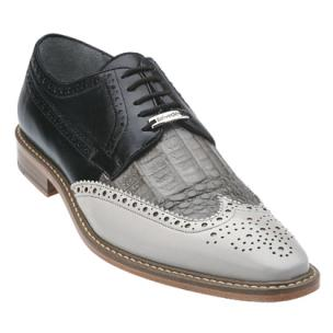 Belvedere Circo Genuine Crocodile / Calfskin Wingtip Brogue in Gray / Grey / Black