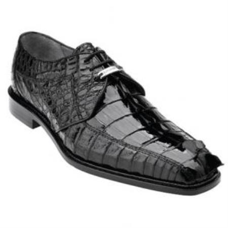 Belvedere Colombo Hornback Crocodile Shoes Black