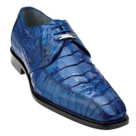 Belvedere Colombo Hornback Crocodile Shoes Ocean Blue
