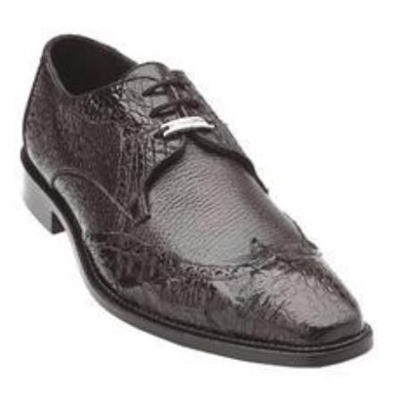 Belvedere Como Genuine Calfskin and Crocodile / Wingtip Brogue with Medallion Toe Detail and Leather Sole in Brown