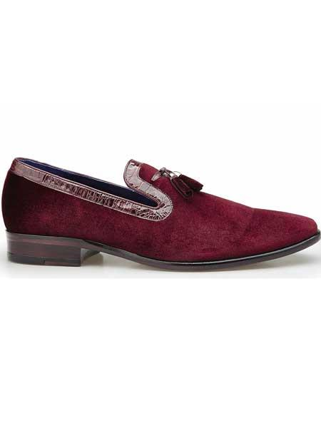 Belvedere Ernesto Soft Velvet And Crocodile Tassel Scarlet Red Loafers