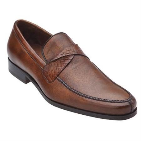 Belvedere Evaldo Genuine Deerskin / Crocodile Loafer Shoes with Leather Sole in Almond