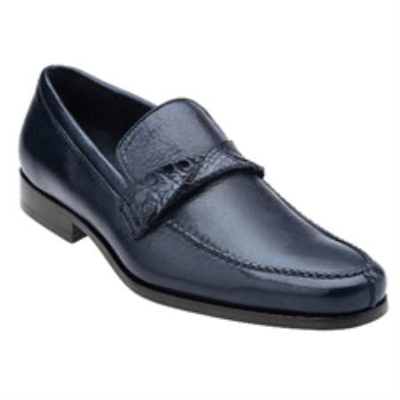 Belvedere Evaldo Genuine Deerskin / Crocodile Loafer Shoes with Leather Sole in Antique Navy