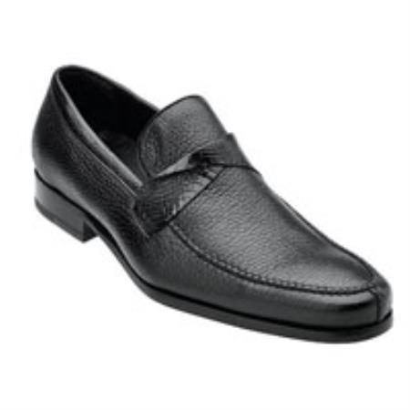 Belvedere Evaldo Genuine Deerskin / Crocodile Loafer Shoes with Leather Sole in Black