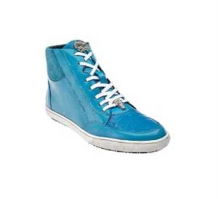 "Belvedere ""Franco"" Baby Blue Genuine Crocodile / Soft Calf Leather Sneakers"