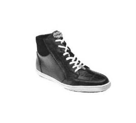 "Belvedere ""Franco"" Black Genuine Crocodile / Soft Calf Leather Sneakers"