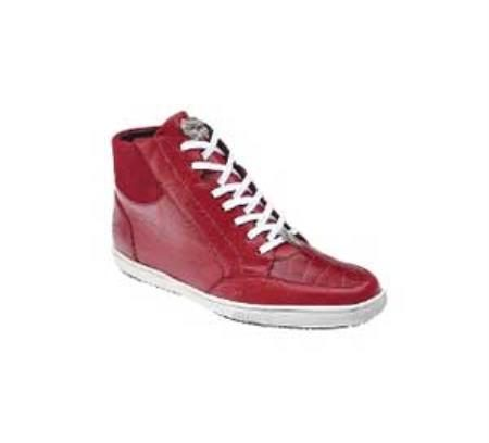 "Belvedere ""Franco"" Red Genuine Crocodile / Soft Calf Leather Sneakers"
