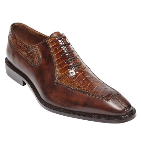 Belvedere Genuine Calf and Ostrich / Mens Dress Sheos with Five Eyelet Lacing with Leather Linings and Leather Sole in Camel / Almond