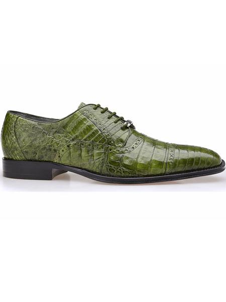 Belvedere Genuine Crocodile Cap Toe Brogues Emerald Green Exotic Shoes
