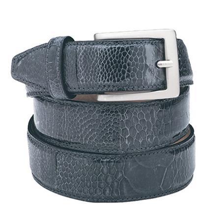 Belvedere Genuine Ostrich Belt in Grey / Gray