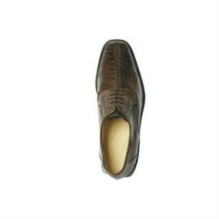 Belvedere Genuine Ostrich / Split Toe Shoes with Leather Sole in Brown