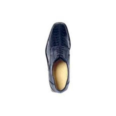Belvedere Genuine Ostrich / Split Toe Shoes with Leather Sole in Navy