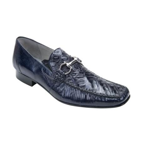 Belvedere Italo Genuine Crocodile and Lizard / Mens Bit Loafers with Leather Sole in Navy