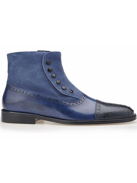Belvedere Leather  Ostrich And Smooth Calfskin Cap Toe Navy Boots