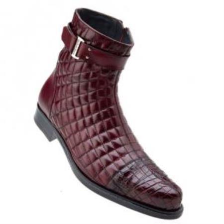 Belvedere Libero Quilted Leather & Alligator Cap Toe Boots Antique Wine