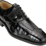 "Belvedere ""Mare"" Black Genuine Eel And Ostrich Leg Shoes"