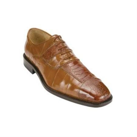 Belvedere Mare Genuine Ostrich and Eel / Exotic Dress Shoes in Khaki