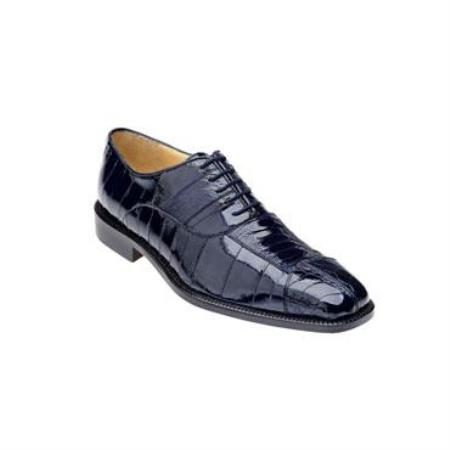 Belvedere Mare Genuine Ostrich and Eel / Exotic Dress Shoes in Navy