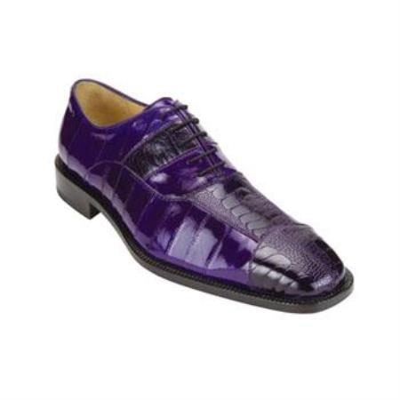 Belvedere Mare Genuine Ostrich and Eel / Exotic Dress Shoes in Purple
